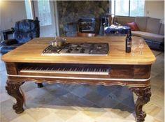 Piano turned grand kitchen island.