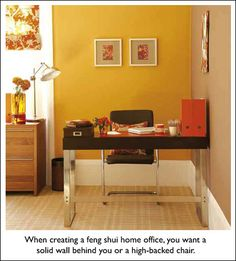 In a proper feng shui home office, you should have a solid wall behind you or at least a high-backed chair. If you have a wall of windows behind you, you may feel like you are lacking support and authority. Add stability and keep the energy from flowing out the windows with drapes, furniture or plants.