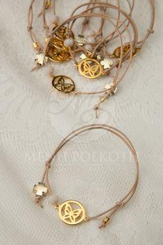Μαρτυρικά βραχιολάκια για βάπτιση από δέρμα με χρυσαφί μεταλλικό διακοσμητικό πεταλούδα