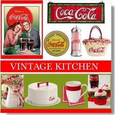 Vintage Coca-Cola Kitchen by farmgirl2015 on Polyvore featuring interior, interiors, interior design, home, home decor, interior decorating, Cake Boss, Villeroy & Boch, Ulster Weavers and kitchen
