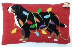 Bernese Mountain Dog Holiday Lights Wool Hooked Dog Throw Pillow  www.aloveofdogs.com