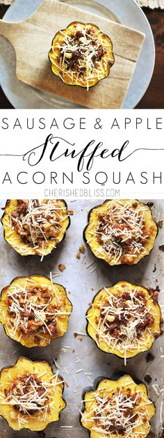 These Sausage and Apple Stuffed Acorn Squash are the perfect appetizer for the holidays or get together! These Sausage and Apple Stuffed Acorn Squash are the perfect appetizer for the holidays or get together, sure to leave your taste buds singing! Vegetable Dishes, Vegetable Recipes, Good Food, Yummy Food, Tasty, Cooking Recipes, Healthy Recipes, Acorn Squash Recipes Healthy, Apple Recipes Savory