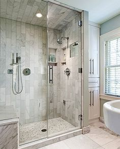 32 Best Master Bathroom Ideas And Designs For Steam Shower Glass Doors. Shower Remodel, Bath Remodel, Modern Bathroom, Small Bathroom, Budget Bathroom, Bathroom Cleaning, Bathroom Renovations, Bathroom Ideas, Shower Ideas