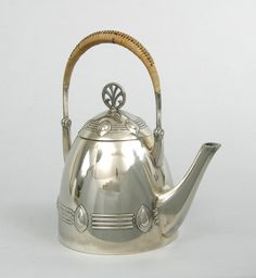 W. M. F. Silver Teapot, rattan handle, Secessionist designs