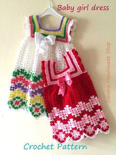 Crochet Baby Dress PATTERN Gift For Baby by SandraHandmadeShop