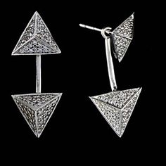 NICE!! 1.40 CT VVS1 DIAMOND TRIANGLE STYLE DROP EARRINGS 10K SOLID WHITE GOLD by JewelryHub on Opensky