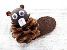 Pine Cone Beaver Ornament, Beaver Craft, Canadian Beaver, Primitive Beaver Decor, Pine Cone Craft by 37HawthornHill on Etsy https://www.etsy.com/listing/234572365/pine-cone-beaver-ornament-beaver-craft