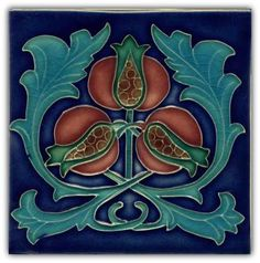 High glaze Art Nouveau tile with cobalt blue background and burgundy pomegranates.