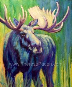 """""""In the Limelight, Moose Painting by Theresa Paden"""" - Original Fine Art for Sale - © Theresa Paden"""