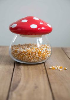 Amanita Second Helping Jar | Once guests get a taste of the homemade goodies you've stored inside this glass mushroom jar from One Hundred 80 Degrees, they're sure to come back for a second serving!