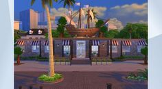 Check out this lot in The Sims 4 Gallery! - A #fun #family #diner similar to ChuckyCheese but with a fun #playhouse #junglegym for the #kids with an #awesome #pirate #ship #theme. #sea creature and all!! #restaurant #costumes #piratepetes