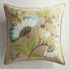 Flowers make any space homier, so bring the beauty of nature indoors to enjoy year-round. Our handcrafted cotton pillow Cushion Embroidery, Embroidered Cushions, Crewel Embroidery, Embroidery Patterns, Bird Pillow, Floral Cushions, Summer Quilts, Wool Applique, Fabric Painting