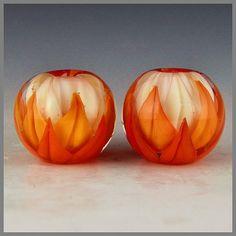 matched earring set lotus beads pale pink orange coral handmade lampwork glass - Fall Lotus Pair