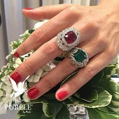 Be fab as waering this luxurious and sparkling ruby and emerald rings by @officialfaberge via @thejewelleryed #purplebyanki #love #instagood #beautiful #diamond #finejewellry #highjewellry #RubyEmerald