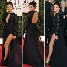 Golden Globe Awards:  Eva Longoria wasn't afraid to get leggy tonight. The actress showed off her stems in a black, custom-made, lace Emilio Pucci gown featuring a chiffon skirt along with a front and back cutout detail. Black satin platform pumps, diamond stud earrings, and sophisticated updo complete her look