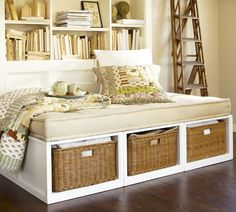pottery barn daybed--to DIY for the office Daybed With Storage, Diy Daybed, Basement Guest Rooms, Guest Room Office, Upstairs Bedroom, Platform Daybed, Ideas Para Organizar, Furniture Upholstery, Plywood Furniture