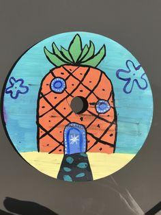 Easy Canvas Art, Small Canvas Art, Mini Canvas Art, Cd Wall Art, Cd Art, Vinyl Record Art, Vinyl Art, Hippie Art, Art Projects