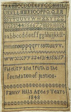 EARLY 19TH CENTURY GREEN WORK ALPHABET SAMPLER BY FANNY HILLS AGED 9 - 1848