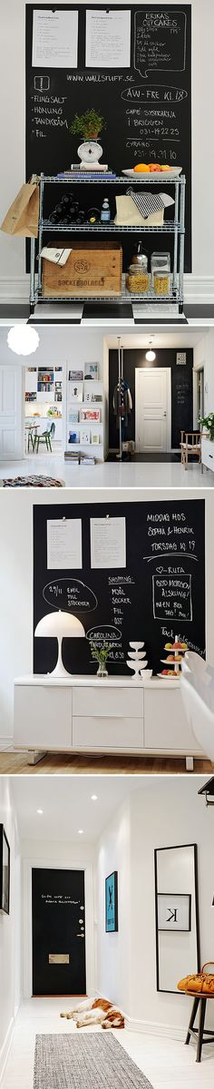 I love this type of interior design (chalk boards aside), it's thin, white, and has lovely dots of colours. It's childish and adult at once.