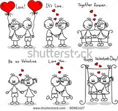Couple in love, a child's drawing, the vector