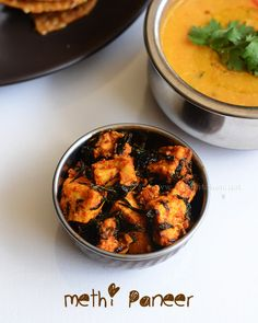 Methi paneer is a quick and easy paneer recipe with fenugreek leaves, goes well with rice and roti/ parathas. Recipe With Fenugreek, Paneer Dry Recipe, Easy Paneer Recipes, North Indian Recipes, Indian Food Recipes, Ethnic Recipes, Subzi Recipe, Prepped Lunches, Kitchens