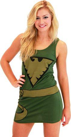 X-Men Phoenix Military Green Juniors Costume Tunic Tank Dress (Military Green) (Juniors Small)