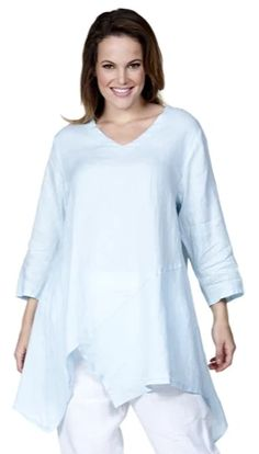 Match Point Linen Notched Hem Tunic with Diagonal Seams Currently available in XLs only in select colors - white, coral, aqua, lighter weight linen, Made in the USA Womens Linen Clothing, Match Point, Final Sale, Tunic Tops, V Neck, Pullover, Sleeves, Underarm, Clothes