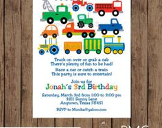 Planes Trains and Automobile Birthday by PMCInvitations on Etsy