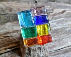 7 Chakra Ring. Fused Glass Ring. Adjustable Ring. by Unics on Etsy