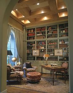 Home Library ~ love the book shelves and coffered ceiling