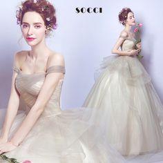 Fashion Sexy Light Brown Organza and Tulle Elegant wedding Dress