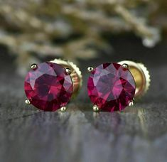 2.00Ct Round Ruby Solitaire 4 Prong Stud Earrings Women's 14k Yellow Gold Finish | eBay White Topaz, White Gold, Ideal Cut Diamond, Green Peridot, Red Garnet, Diamond Shapes, Women's Earrings, Fine Jewelry, Pure Products