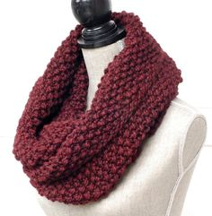 Knit Infinity Scarf   Chunky Knit Cowl   Hand by SwaddleinCloth