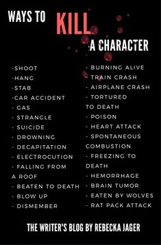 Ways to kill a Character.let's have fun writing! Book Writing Tips, Creative Writing Prompts, Writing Words, Writing Help, Writing Skills, Writing Promts, Writing Characters, Fictional Characters, Writing Challenge