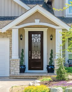 x Marbella Lite Single Wrought Iron Entry Door Front Porch Addition, Front Porch Design, Exterior Doors, Entry Doors, Garage Doors, Front Porch Remodel, Split Entry Remodel Exterior, Small Front Porches, Front Porch With Columns
