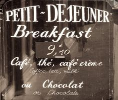 Paris Photography - Cafe Sign, Black and White Kitchen Wall Decor, Petit Dejeuner, Breakfast in Paris Photo Paris Travel, France Travel, Cafe Sign, Sidewalk Cafe, Little Lunch, Paris Cafe, Paris Paris, I Love Paris, Paris Photography