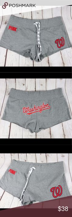 VS PINK Washington Nationals Shorts VS PINK Washington Nationals Shorts   Victoria's Secret PINK MLB collection Washington Nationals Comfy Shorts  Washington print On Back Washington Nationals Logo On side leg Pink logo on side leg Drawstring waistband  Raw hem   60% cotton / 40% polyester  Inv227 PINK Victoria's Secret Shorts