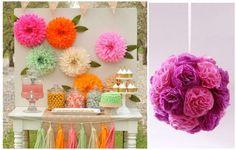 Con diferentes colores de papel de seda podemos decorar una fiesta de arriba a abajo. ¡Mirad qué ideas!