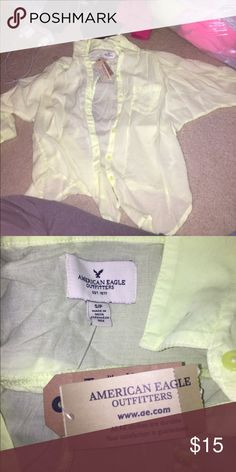 Neon button up Very light weight. Would need some thing to wear underneath. Never have worn. In great condition! American Eagle Outfitters Sweaters Cardigans