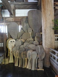 In the temple on Miyajima, Japan. Rice paddles used for wishes.