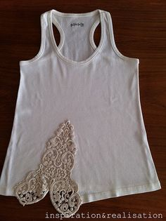 Adding lace to a tank top