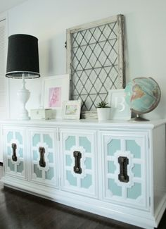 Re-purposed credenza - like the blue painted in the insets