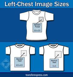 Sizing Chart With Common Shirt Sleeve Design Image Sizes