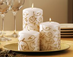 candles Share your own related images Elegant Ivory W/ Glittering Gold Swirls Holiday Candle Set By Collections Etc Christmas Candle Lights, Indoor Christmas Decorations, Christmas Candles, Holiday Decor, Bulk Candles, Candles Online, Pillar Candles, Fancy Candles, Red Candles