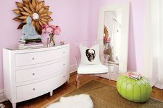 Lilac Paint Colors, Contemporary, girl's room, Benjamin Moore Misty Lilac, Teen Vogue