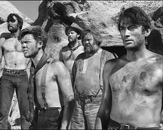 YELLOW SKY - After robbing a bank and crossing a desert, a group of outlaws stop at a ghost town. Pictured: (l.) - John Russell, Robert Arthur, Harry - Charles Kemper - Gregory Peck - Directed by William A. Wellman - Century-Fox - Publicity Still. Gregory Peck, John Russell Actor, Classic Hollywood, Old Hollywood, James Shigeta, Louis Hayward, Harry Morgan, Atticus Finch, Cowboy Pictures