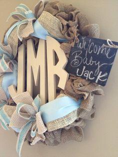 Burlap monogram wreath // It's a Boy wreath // Vintage light blue // off white // Chalkboard // Monogram // Burlap its a boy wreath - All For Decoration Burlap Monogram, Monogram Wreath, Baby Boy Wreath, Baby Wreaths, Baby Door Hangers, Everything Baby, Baby Time, Baby Boy Nurseries, Baby Crafts
