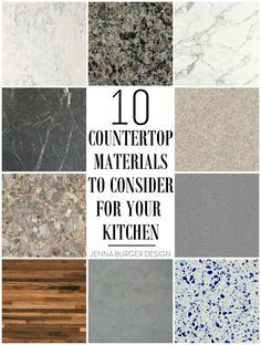 10 Countertop Materials to Consider for your KITCHEN! Round up of material choic. - 10 Countertop Materials to Consider for your KITCHEN! Round up of material choices at www. Kitchen Countertop Materials, Kitchen Cabinets, Countertop Options, Concrete Kitchen, Kitchen Island Countertop Ideas, Types Of Kitchen Countertops, Countertop Decor, Kitchen Worktop, White Cabinets