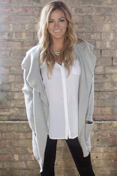 Olivia Pope grey sweater from Becca Tilley's Winter Collection. sugarloveboutique.com