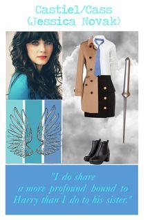 """Castiel/Cass Gender Bend"" by stargirl234 on Polyvore featuring art, supernatural, castiel and GenderSwap"